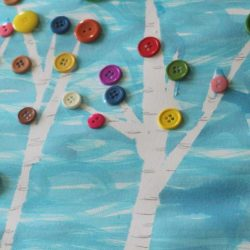 Tape resist birch tree - 1 of the 28 winter crafts for kids to make