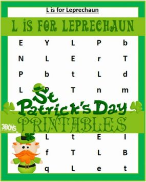 Saint Patrick's Day Printables: L is for Leprechaun from 3 Boys and a Dog