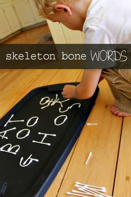 halloween alphabet with skeleton bones hands on as we grow. Black Bedroom Furniture Sets. Home Design Ideas
