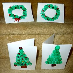 Fingerprint Christmas tree and wreaths cards