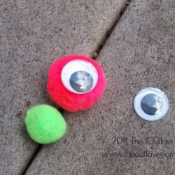 One-Eyed Pom Pom Monsters, 1 of the 12 Googly Eyes Crafts & Activities for Halloween