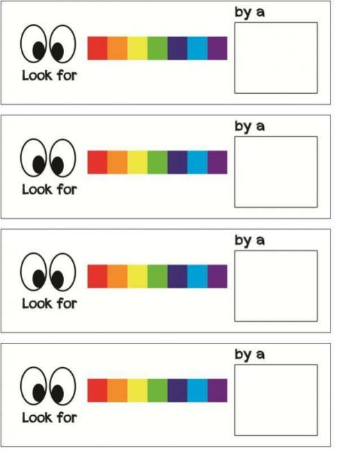 Rainbow scavenger hunt free printable clues