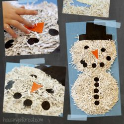 Shredded Paper Snowman Craft