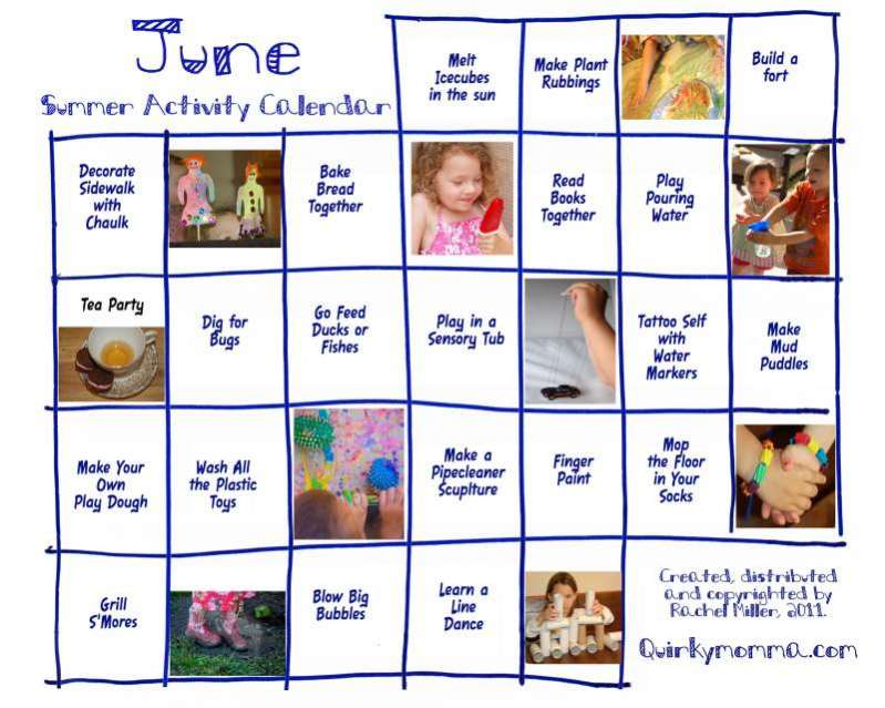monthly preschool activity calendars