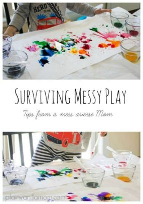 A Mess Averse Mom's Guide to Surviving Messy Play from Plain Vanilla Mom