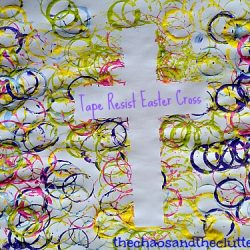 Tape Resist Cross Stamped Cross from The Chaos and the Clutter