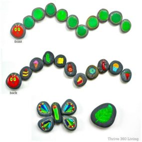 'The Very Hungry Caterpillar' Painted Rocks from Thrive 360 Living