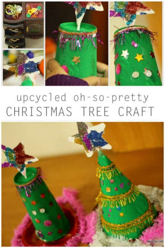 upcycled oh so pretty christmas tree craft hands on as we grow