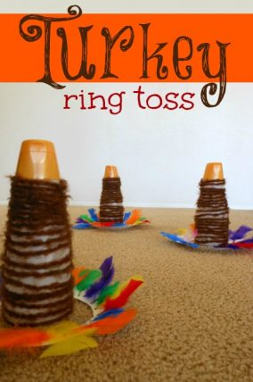 What a fun Thanksgiving game! Turkey ring toss.