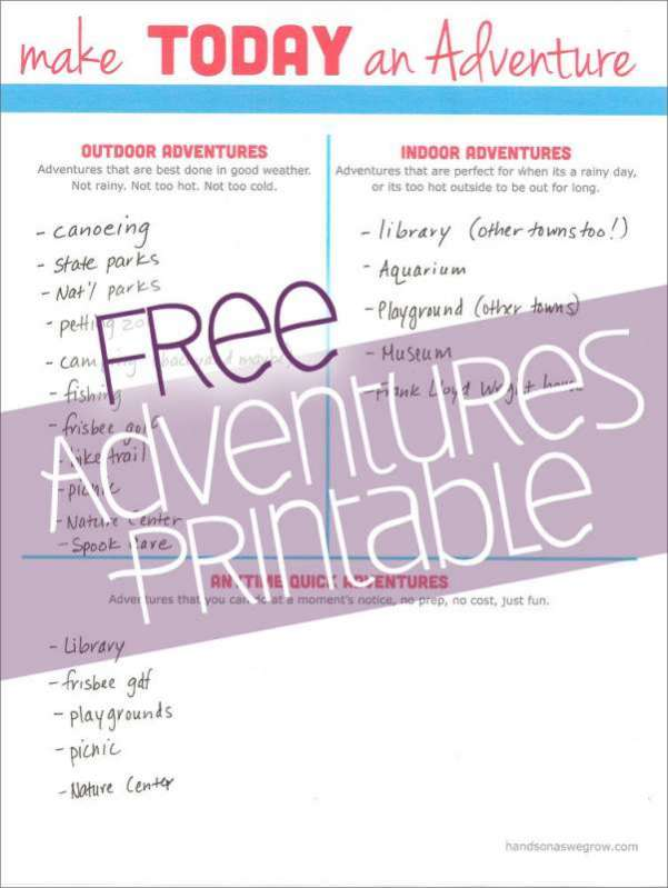 Make Today an Adventure Day FREE Printable