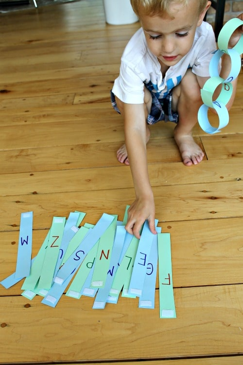 Learn the alphabet with paper chains, plus how to make a paper chain reusable