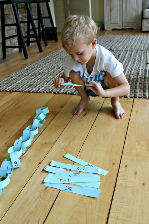 Learn the alphabet with a paper chain for kids to use over and over