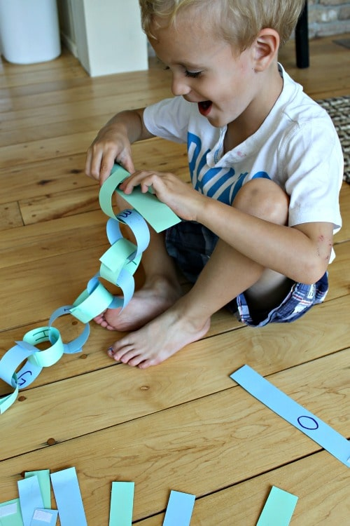 How to make paper chains reusable and use them to learn the alphabet too!