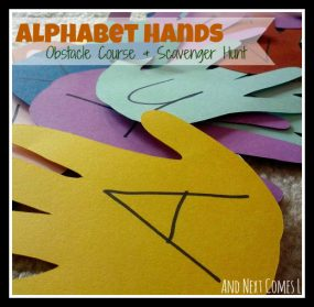 Alphabet Hands Obstacle Course & Scavenger Hunt from And Next Comes L