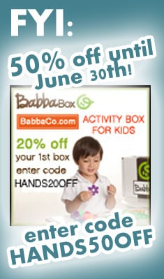 50% off BabbaBox through June 30th! HAND50OFF