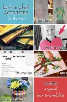 Back to school weekly activities planner