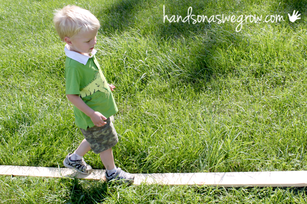 Make a balance beam for toddlers