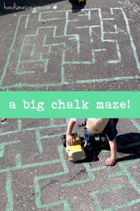 A big chalk maze to make for preschoolers