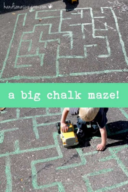 Make a big chalk maze to make for preschoolers