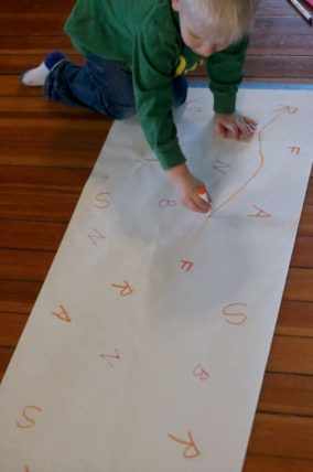 Make a BIG Connect the Dots using letters for preschoolers!