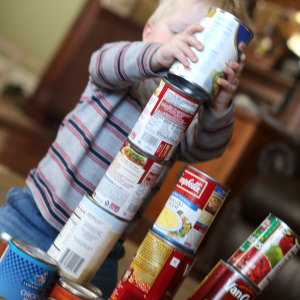 Blocks for toddlers -- canned food!
