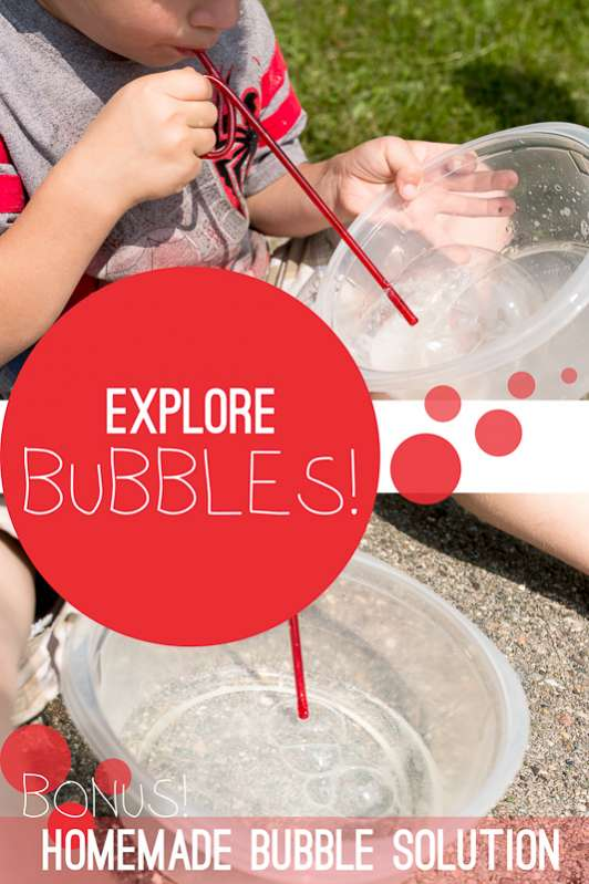 Make a homemade bubble solution and help the kids explore and learn about bubbles (and air)