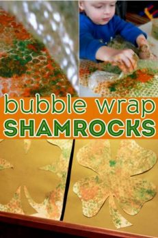 Bubble wrap prints! Then cut them out to be shamrocks for St. Patty's day!