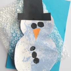 Handprint Mitten Craft From House Of Baby Piranha Bubble Wrap Snowman