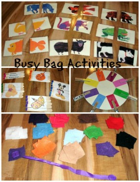 Busy Bag Activities from Frogs and Snails and Puppy Dog Tails