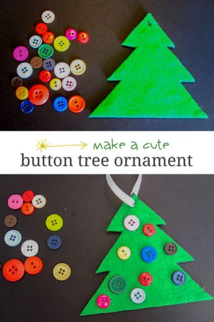 cute button tree ornament for the kids to make - Christmas Tree Decorations For Kids