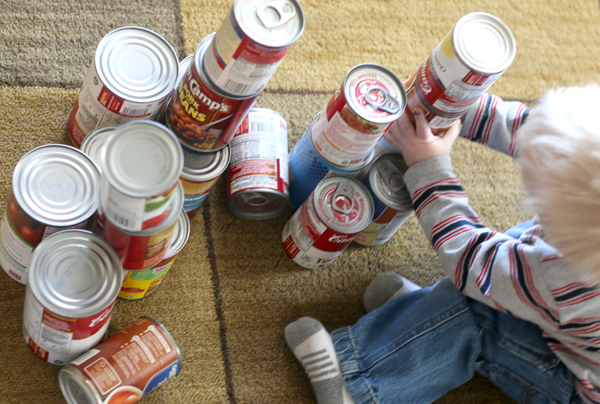 Canned food as blocks for toddlers