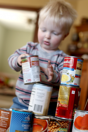 Simple stacking activity with canned food! Easy blocks for toddlers!