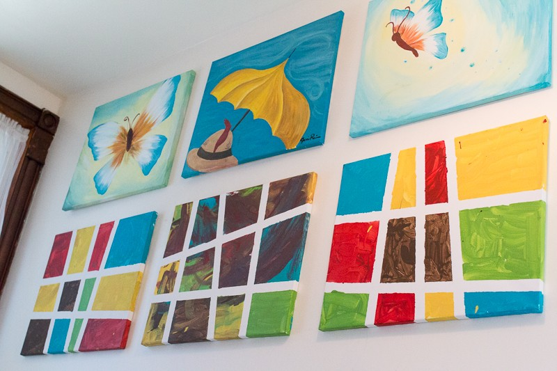 Paintings hung