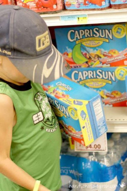 Capri Sun scavenger hunt in the grocery store