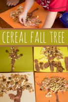 Fall tree craft for toddlers to make with cereal