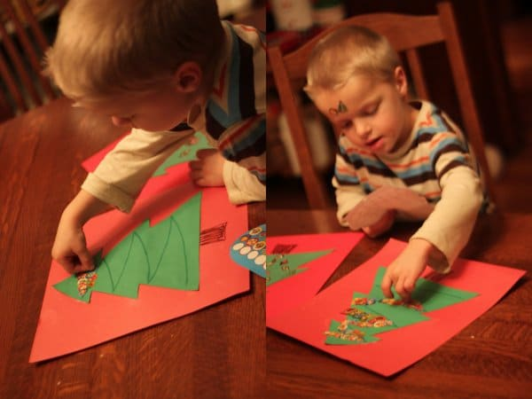 Stickers for fine motor to make a Christmas tree craft!