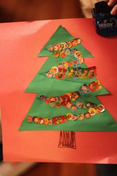 Fine motor sticker Christmas tree craft for kids