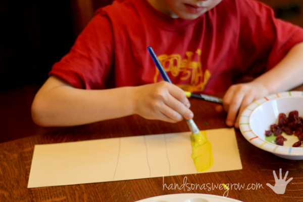 Make paint swatches by mixing colors for kids to see the different shades of colors!