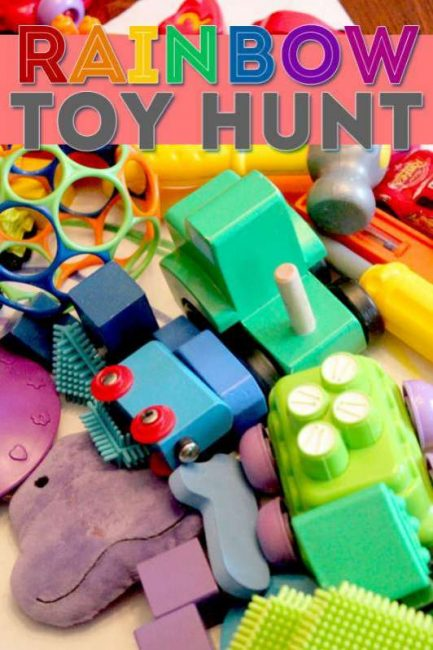 Go on a color scavenger hunt around the house for toys to make a rainbow.