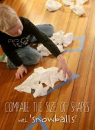 Count and compare the 'snowballs' that fit in a shape to measure the area