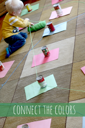 Connect the colors with yarn - move and learn!