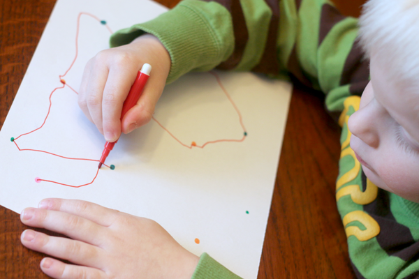 Preschoolers can simply connect the dots however they choose