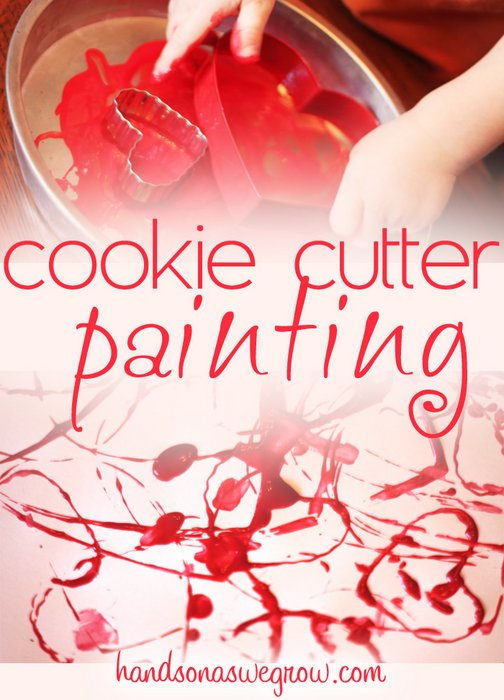 Cookie Cutter Painting for Valentine's Day