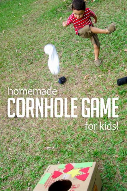 Make a simple cornhole game for kids at home