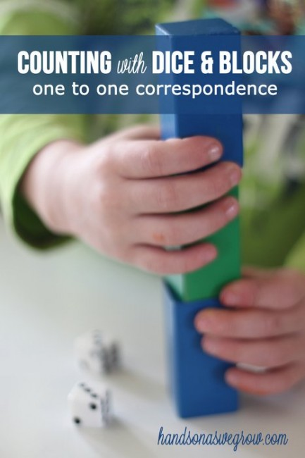 Counting with Blocks and Dice - building exercise to practice one to one correspondence
