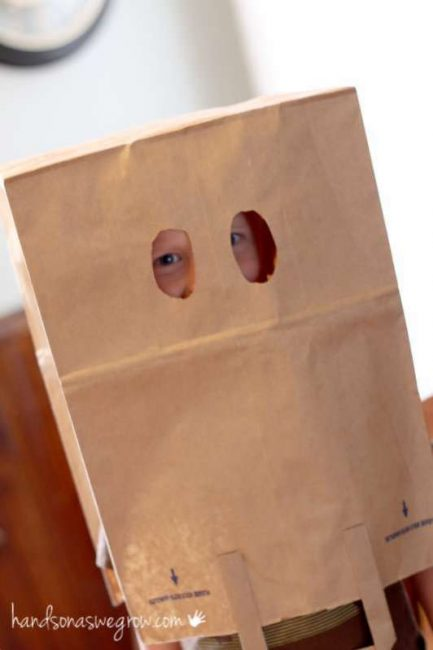 A brown paper bag mask