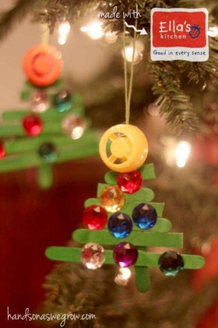 make a sparkly craft stick christmas tree ornament with the kids - Stick Christmas Tree