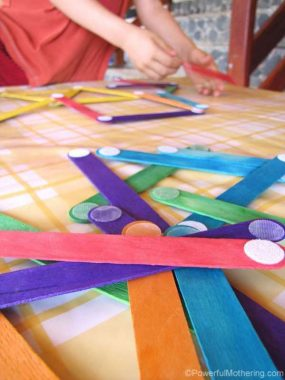 Velcro Dot Craft Sticks from Powerful Mothering