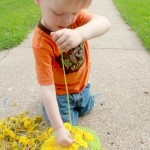Fine Motor Threading with Dandelions