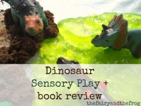 Dinosaur sensory play from The Fairy and The Frog
